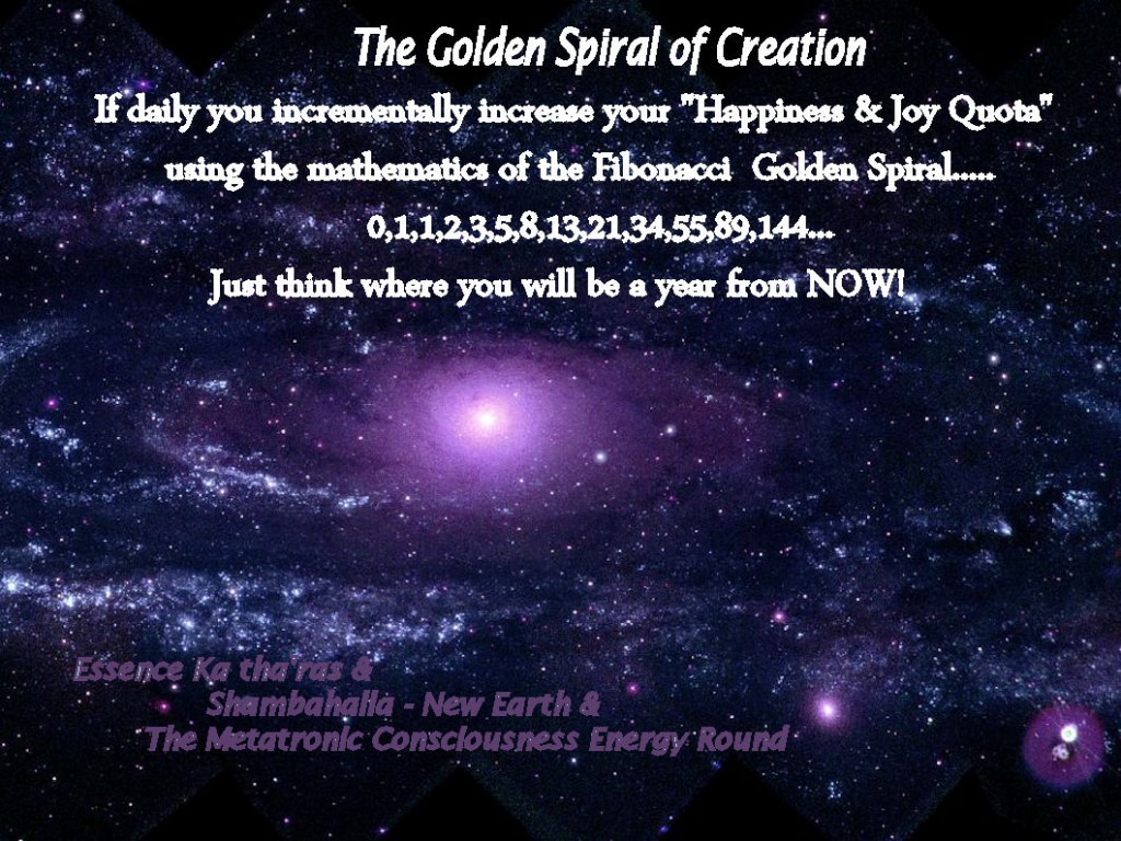 The Golden Spiral of Creation..... 0,1,1,2,3,5,8,13,21,34,55,89,144...