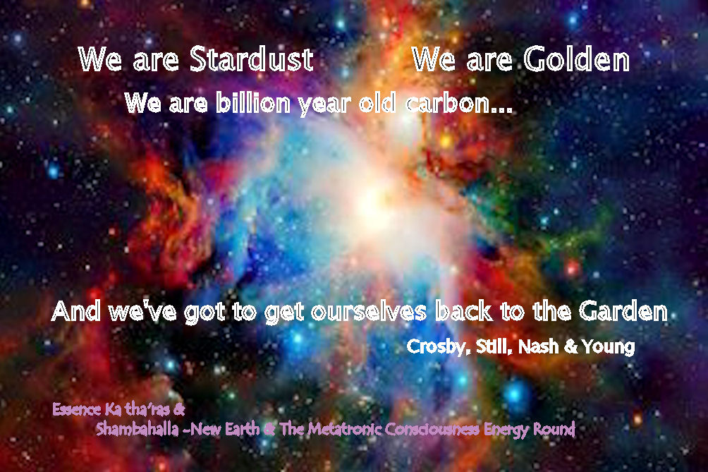 We are Stardust We are Golden We are billion year old carbon... And we've got to get ourselves back to the Garden Crosby,Stills, Nash & Young
